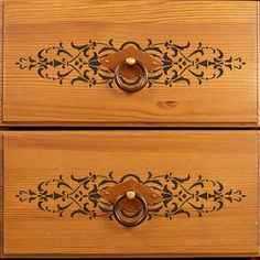DIY Painted Furniture Projects and Embossed Plaster - Micah Classic Panel Stencils - Royal Design Studio Distressed Furniture, Hand Painted Furniture, Refurbished Furniture, Upcycled Furniture, Furniture Projects, Custom Furniture, Furniture Makeover, Furniture Stencil, Simple Furniture