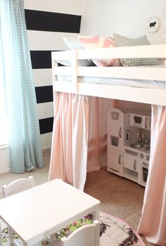 Loft Bed  Play House! great use of small space too! would ven be cool with like bookshelf against back wall and sides like little reading nook. Braelyn would love that! (kitchen, art table and books all in one area)