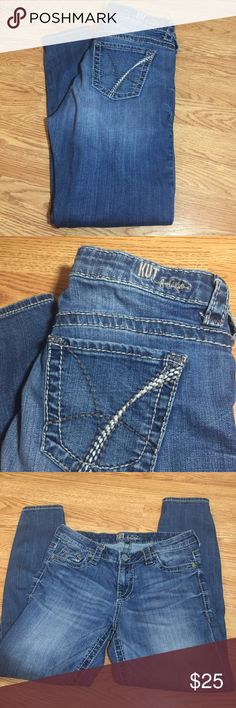 Kut from the Kloth skinny jean Super comfy jeans sized 6 but I fee these run larger. The waist is 16.5 in flat the rise is 8.5in the inseam is 28in the width at bottom of pant is 5in! These jeans are preloved. It are in wonderful condition with lots of wear left! Material is 99%cotton 1%spandex Kut from the Kloth Jeans Skinny