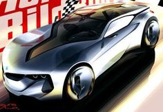 BMW M sports car concept. I love this rendering. This car has a number of very cool design ideas.