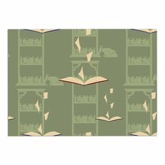 KESS InHouse Stephanie Vaeth 'Library' Green Digital Dog Place Mat, 13' x 18' *** Hurry! Check out this great product : Dog food container