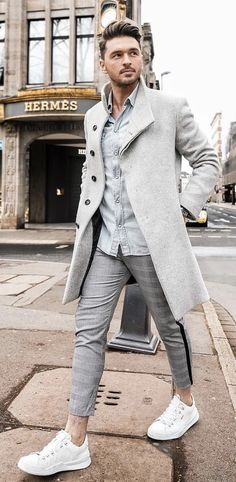 Men Clothing With A Fall Combo Idea Gray Topcoat Light Wash Denim Shirt Plaid Trousers Too Short Imho No Show Socks White Sneakers