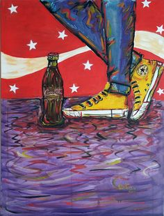Encontro - Acrílica sobre Tela - 60 x 80 cm - 2015 Autor: Olister Barbosa tênis, shoes, Converse, All Star, Coke, Coca-Cola
