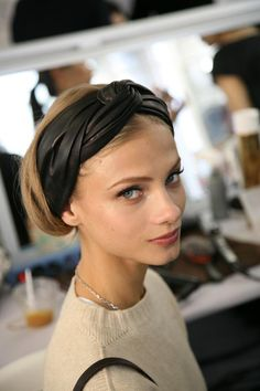 crossed leather #headband