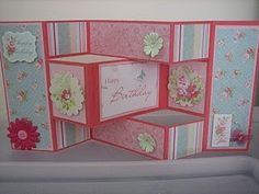 Pink and blue trifold card