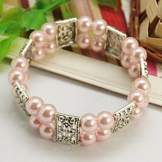 Fashion Glass Pearl Bracelet, with Tibetan Style Links and Elastic Thread, Pink, 55mm