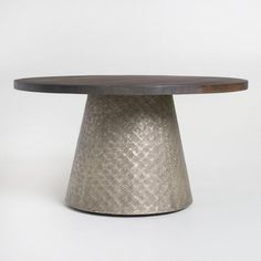 Round Wood and Embossed Metal Kiran Coffee Table - v3
