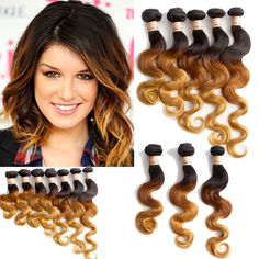 3Bundles 150g Ombre Real Human Brazilian Hair Extension Body Wave Wefts UK Ship #wigiss #HairExtension