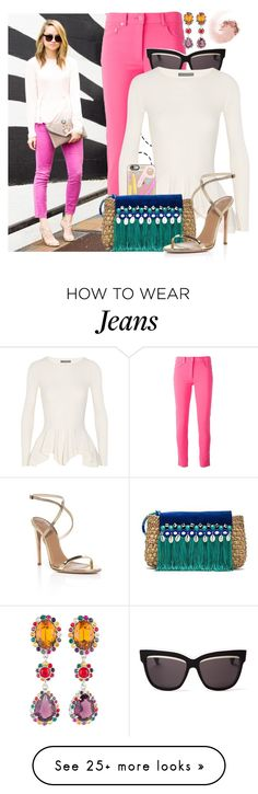 """""""Street Style: Pink Jeans"""" by streetstylefiles on Polyvore featuring Moschino, Christian Dior, Alexander McQueen, Casetify, Caffé, Aquazzura, Miu Miu and NARS Cosmetics"""