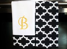 Monogram Kitchen Towels or Hand Towels in Black / by DesignsByThem
