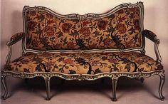 Grand salon du château d'Abondant Aménagé entre 1747 et 1750 dans le château d'Abondant pour Louis II du Bouchet (1711 - 1788), marquis de Sourches, sur les dessins de l'architecte Jean Mansart de Jouy (1705 - après 1779). Vers 1903, Claire de Vallombrosa, comtesse Lafond, descendante du marquis de Sourches, transporta le salon et son mobilier dans son hôtel parisien.   Attribué à Michel CRESSON 1709 - 1781  Deux canapés  Hêtre sculpté et peint ; broderie de soie au petit point d'origine