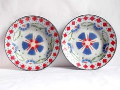 ASSIETTES ANCIENNES EN TOLES EMAILLE-ANTIQUE ENAMELLED TIN PLATES-EMAILLE B.E.