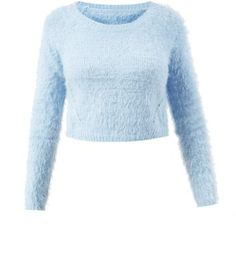 Cameo Rose Pale Blue Fluffy Cropped Jumper