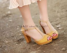 2013 Summer Fashion Pumps Platform Peep Toe High Heel Sandles 35 43 Pink Yellow | eBay