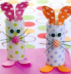 Toilet paper Roll Bunnies~ Make these with scrapbook/art paper, googly eyes, fabric button nose and felt. by federica.mic