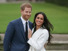 """11/27/2017 Prince Harry announces engagement to Meghan Markle. On the grounds of Kensington Palace hours after their engagement was announced. Harry, wearing a blue suit and tie, said he was """"thrilled"""" and said details about his proposal will come out later. He was then asked if the proposal was romantic, and he replied: """"Of course!"""""""