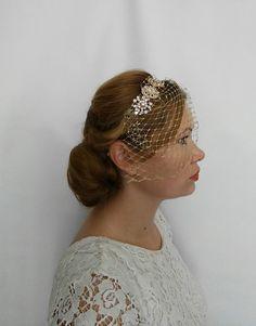 Gold Headband Wedding Birdcage Veil Headband by SilkPearlDesign