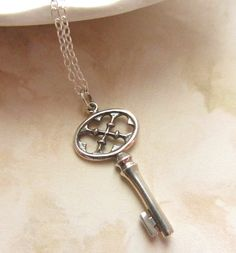 Sterling Silver Necklace with Key Charm by RachellesJewelryBox