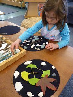 Mairtown Kindergarten: Ephemeral Art. The black circles really make the natural materials pop.