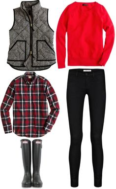 red. sweatshirt. black. tweed. vest. black. riding tights. Hunter. boots. wet. cold. barn.