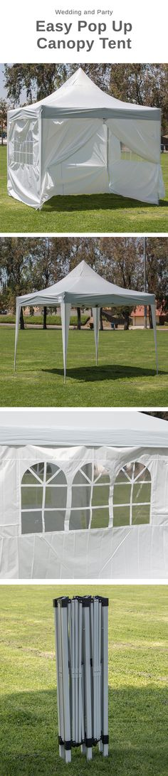 Premium 10x10 Outdoor Wedding Canopy Event Party Tent w/ 4 Walls. Featuring a taller height that allows for more room, cooler temperatures, and easy assembly. Designed to withstand the elements, this Premium Pop Up Canopy tent features simple easy to set up, with sturdy construction, and a classic high style look in one easy pop up tent!