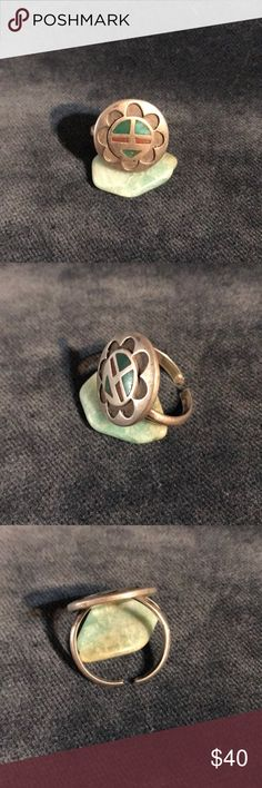 Old Pawn Sterling Silver Ring Old Pawn Native American Stone Inlay Sterling Silver Ring  It is not marked but does test as Sterling silver  The band is cut so it can be worn anywhere from a size 7 to about a size 10.  If you don't like my price make me a offer! Jewelry Rings