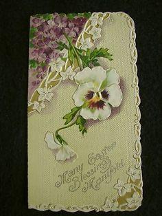 Vintage Early 1900s Doublefold Easter Card Embossed Die Cut Violets Pansies Ivy