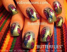 glitter BUTTERFLIES on gradient by robinmoses - Nail Art Gallery nailartgallery.nailsmag.com by Nails Magazine www.nailsmag.com #nailart