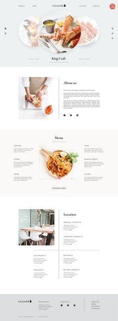 Crawfish Restaurant. Web Page. on Behance Website Design Inspiration, Web Design Blog, Food Web Design, Website Design Layout, Web Banner Design, Menu Design, Website Designs, Layout Design, Design Design