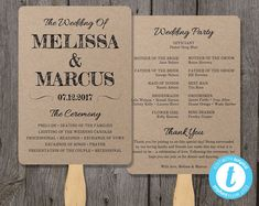 Rustic Wedding Program Fan Template Fan Wedding by YouPrintEm