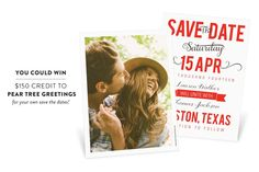 Save the Dates from Pear Tree Greetings + A Giveaway!  Read more - http://www.stylemepretty.com/2013/09/21/peartree-greetings-a-giveaway/