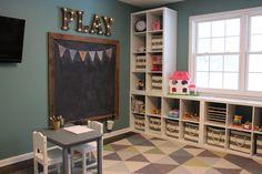 Playroom - chalkboard - marquee letters- Ikea Kallax shelves- toy storage- triangle rug