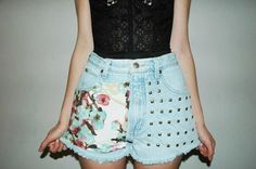 Studded denim high waisted shorts with floral #studded #floral #shorts www.loveitsomuch.com