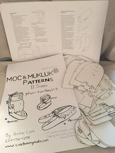 How to make Mukluks & Moccasins ~ Step by Step Instructional Guides Easy reusable Patterns includes 14 sizes from infant 0 to mens 11-12