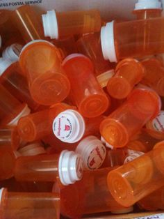 Empty plastic medicine bottles great for storing and shipping polymer clay cane or for odds and ends.