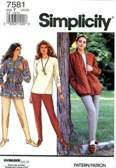 Vintage Sewing Pattern - 1991 Misses Slim Pants, Top, and Unlined Jacket, Simplicity 7581, Sizes 18-22