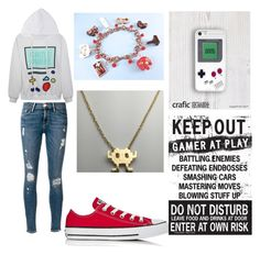 """""""@nebulaprime tag: gamer"""" by i-liebe-anime ❤ liked on Polyvore featuring Frame Denim and Converse"""