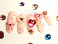 Pink hime gyaru Japanese 3D nails bows and hearts by Aya1gou, $20.80