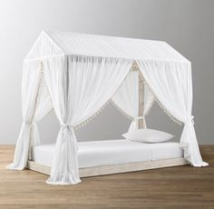 RH Baby & Child's Cole Tassel Voile Canopy:Our sheer, 100% cotton voile canopy is specially designed to drape over the A-shaped frame of our Cole Platform Bed. Trimmed in soft cotton tassels and fitted with ties on four corners, it creates a cozy hideaway that's at once airy and enclosed – the perfect backdrop for fairy-tale dreams.