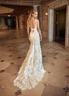 Lace Applique Wedding Dress with a Low Back