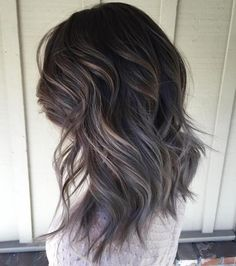 Brown Layered Hairstyle With Gray Ombre Ash Brown Hair Color, Black Hair With Highlights, Light Brown Hair, Hair Highlights, Dark Brown, Color Highlights, Ash Grey, Chunky Highlights, Caramel Highlights