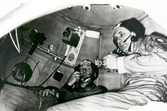 Space History Photo: Cosmonaut Aleksey A. Leonov (left) and astronaut Thomas P. Stafford take part in Apollo-Soyuz Test Project (ASTP) joint crew training, seen here inside a Soviet Soyuz orbital module trainer on April 25, 1975.