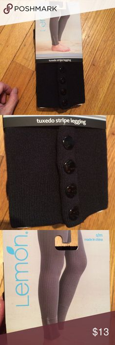 Lemon tuxedo stripe leggings BNWT. Size s/m I love these under long tunics it yoga top with sports bras to lounge around in the house. Too bad I don't work out, lol. Has 4 snaps at the bottom to add some extra details that the cheaper brands don't think about. It's the added touches that make them stand out. Plus the comfort is way worth every penny. Made out of modal, nylon and spandex. Plus all my buyers receive a free thank you gift. Lemon Pants Leggings
