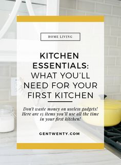 Moving out on your own? Here are the tools you need to stock your first kitchen #HomeDecorSale Home Decor Near Me, Home Decor Sites, Home Decor Online, Home Decor Store, New Home Essentials, Room Essentials, Kitchen Essentials, First Apartment Tips, First Apartment Essentials