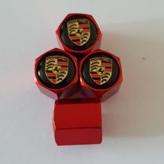 Metal Valve Dust Caps set of 4 Universal fit for all Porsches 8 colours to choose