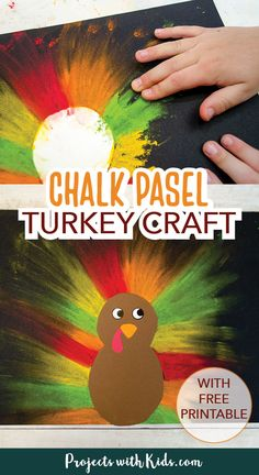 Kids will love making this brightly colored chalk pastel turkey craft for Thanksgiving! An easy and fun art project for kids of all ages. Free printable template included.