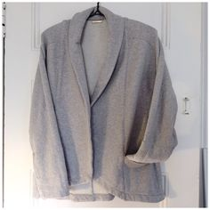 """SALELoeffler Randall thick jersey jacket Loeffler Randall """"athleisure"""" heather grey jersey knit jacket - thick sweatshirt type material, 100% cotton. Open front hat overlaps, hi-lo scooped hem, pockets, big cuffs. In great condition, no stains/blemishes on the outside but there are a couple small pulls/imperfections on the inside (see image) that do not show at all on the outside. Measurements flat across: 15.5"""" armpit to pit, 26"""" shoulder to shorter front hem, sleeve uncuffed 19"""". Posted…"""