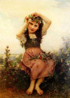 A Crown Of Flowers Léon Bazile Perrault (1832 – 1908, French)