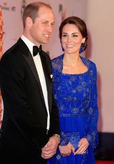 The Duchess paired her detailed gown with Amrapali earrings, while her husband wore a sharp tux and bow-tie. - HarpersBAZAAR.co.uk