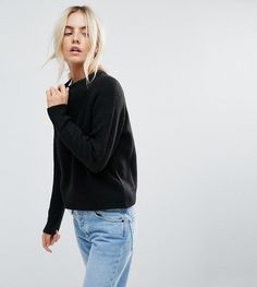 ASOS PETITE Sweater In Fluffy Yarn With Crew Neck - Black